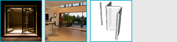 An image that contains four small sqaure images of bi-folding doors and how they can be used in a home.