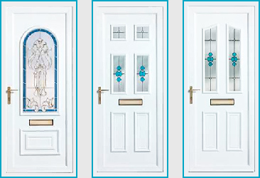 an image that shows three styles of UPVC door sold and fitted by Williams Windows