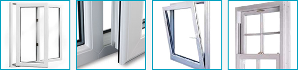 an image of four sepparate images of double glazed windows in various styles, both open and shut