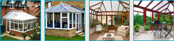 An image of four sepparate image of conservatories that have been designed and created by Williams Windows DG Limited