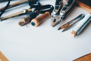 An image of tools that have been laid out, ready to carry out a home renovation project.